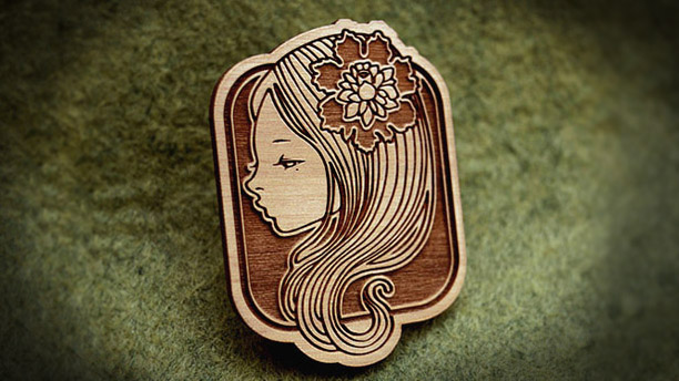 Audrey Kawasaki - Engraved Wooden Brooches