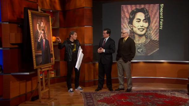 Frank Stella, Shepard Fairey and Andres Serrano on Colbert Report